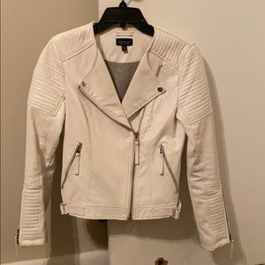 Topshop faux leather all white moto jacket